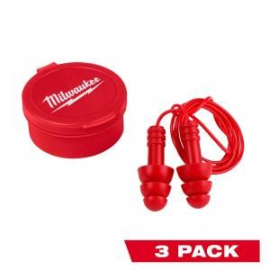 Corded Red Earplugs (3-Pack) with 26 dB Noise Reduction Rating