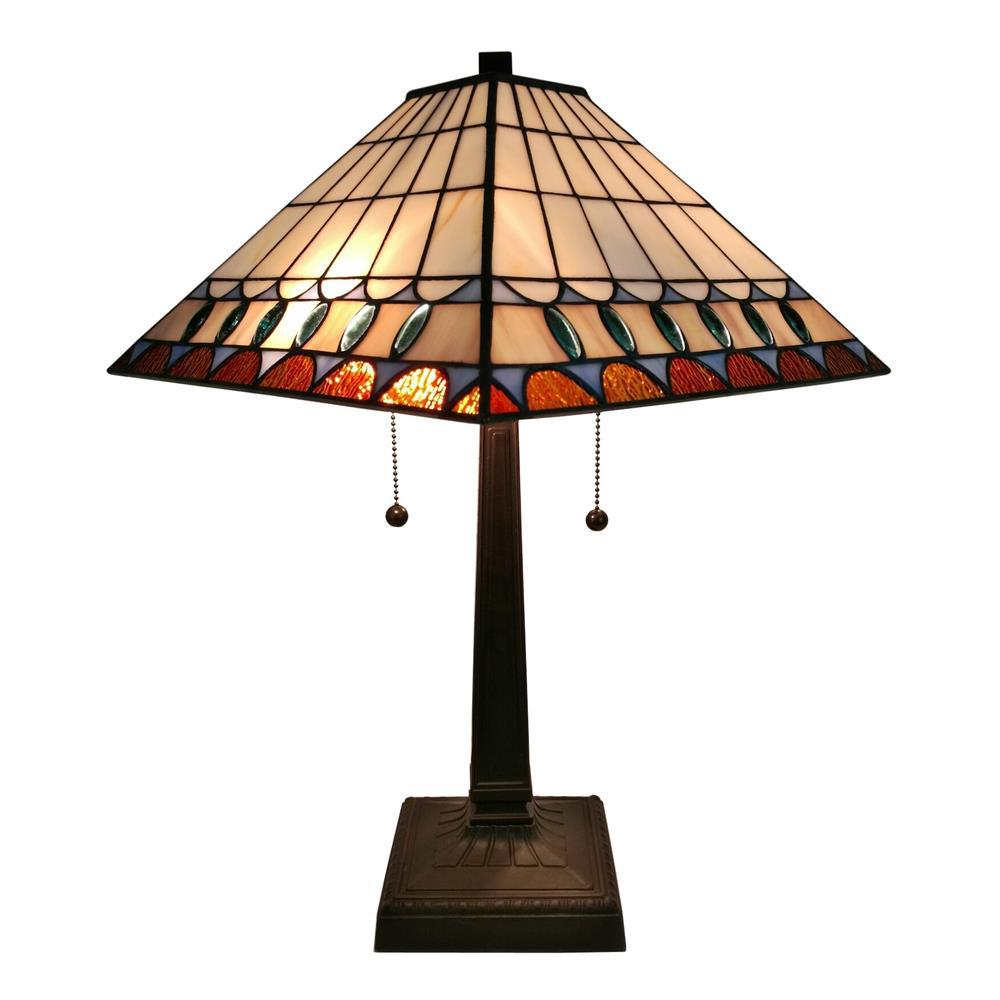 Amora lighting 21 in tiffany style multicolored mission table tiffany style multicolored mission table lamp geotapseo Choice Image