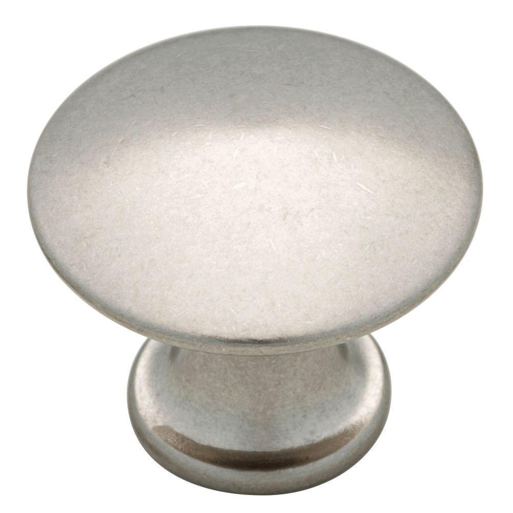 Discus 1-1/8 in. (28mm) in. Bedford Nickel Round Cabinet Knob