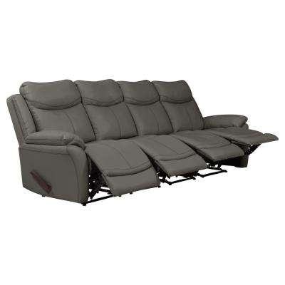 Taupe Gray Tuff Stuff Fabric 4-Seat Wall Hugger Recliner Sofa