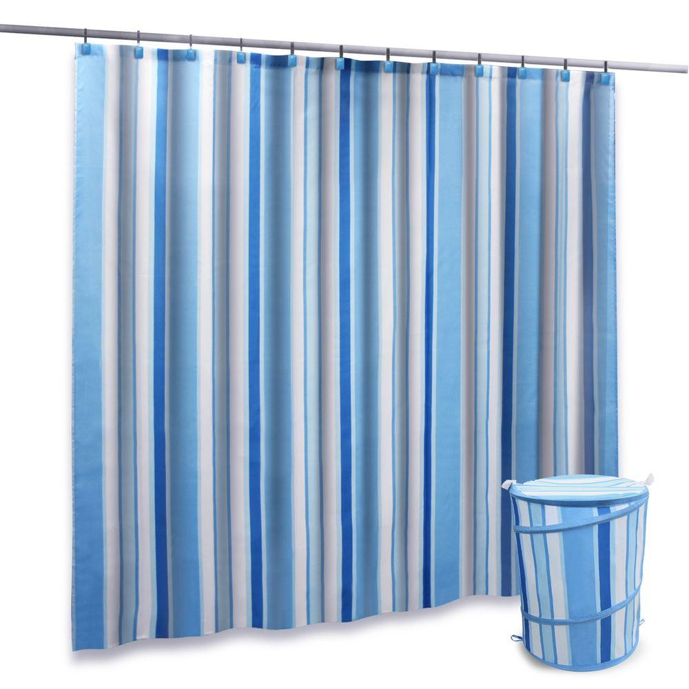 Elegant Home Fashions 14-Piece Stripes with Light Blue Hooks Value Pack Shower Set-DISCONTINUED