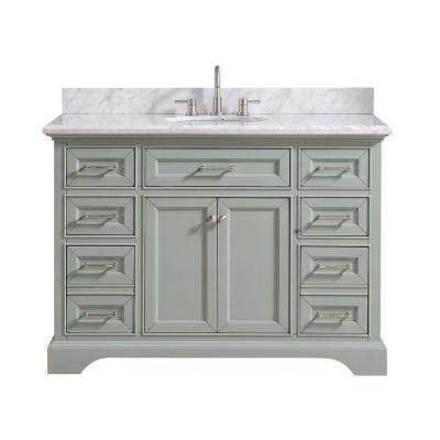 Windlowe 49 in. W x 22 in. D x 35 in. H Bath Vanity in Green with Carrera Marble Vanity Top in White with White Basin