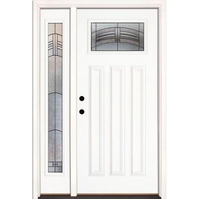 50.5 in.x81.625 in. Rochester Patina Craftsman Lt Unfinished Smooth Right-Hand Fiberglass Prehung Front Door w/ Sidelite