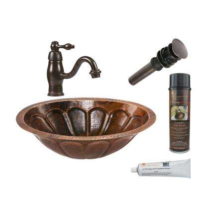 All-in-One Oval Sunburst Under Counter Hammered Copper Bathroom Sink in Oil Rubbed Bronze
