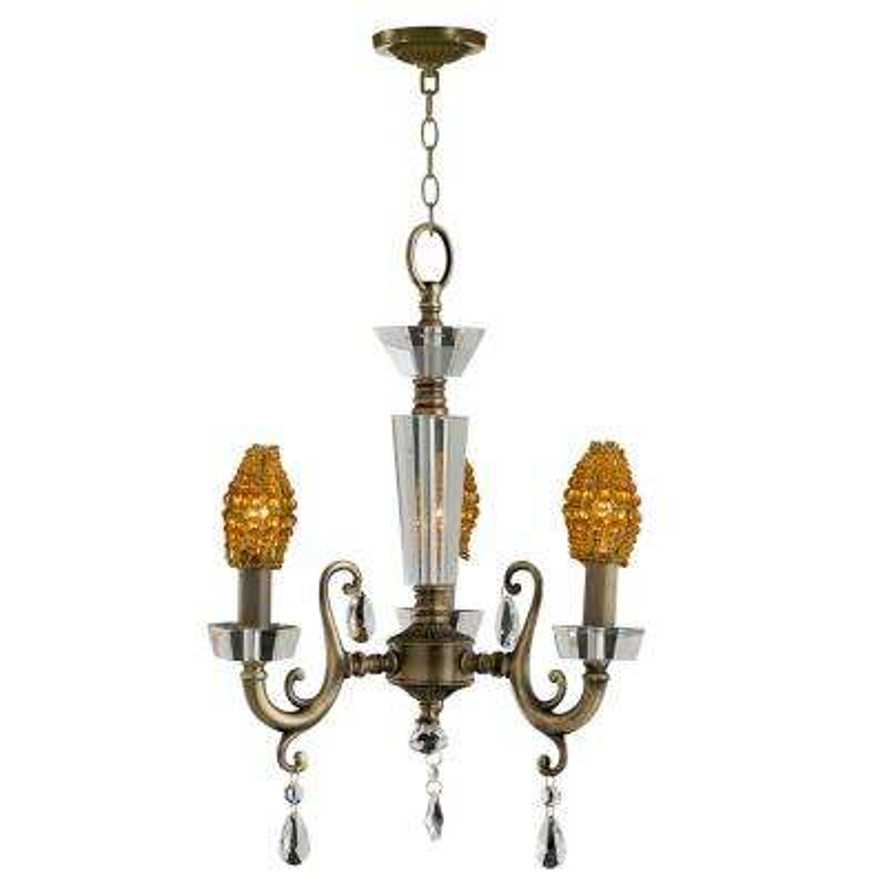 3-Light Antique Brass Finish Prato Chandelier