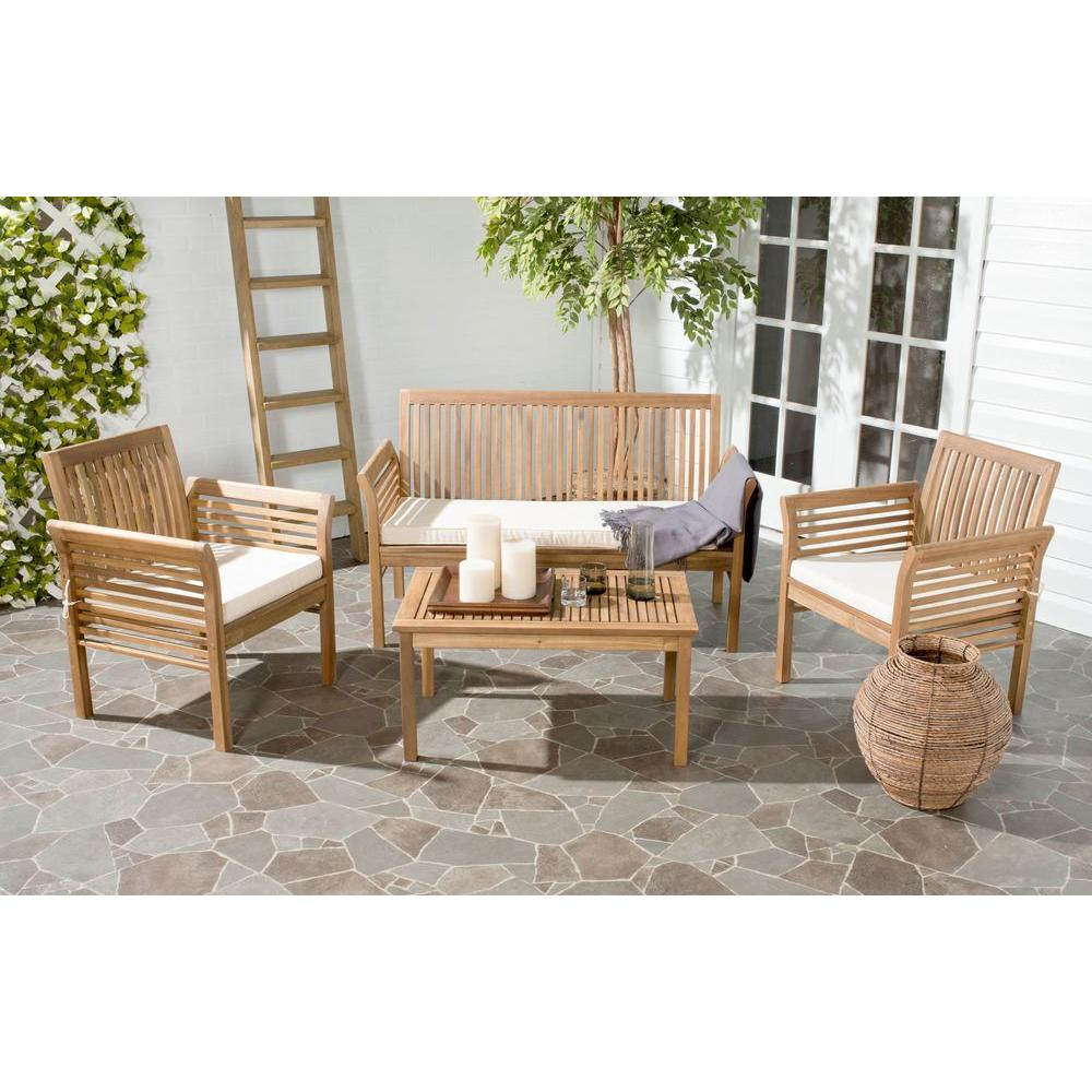 Safavieh Carson Teak Look 4 Piece Outdoor Patio Conversation Set With Beige  Cushions