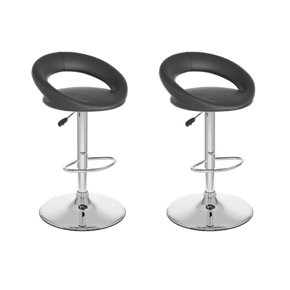 Adjustable Black Leatherette Round Open Back Swivel Bar Stool (Set of 2)