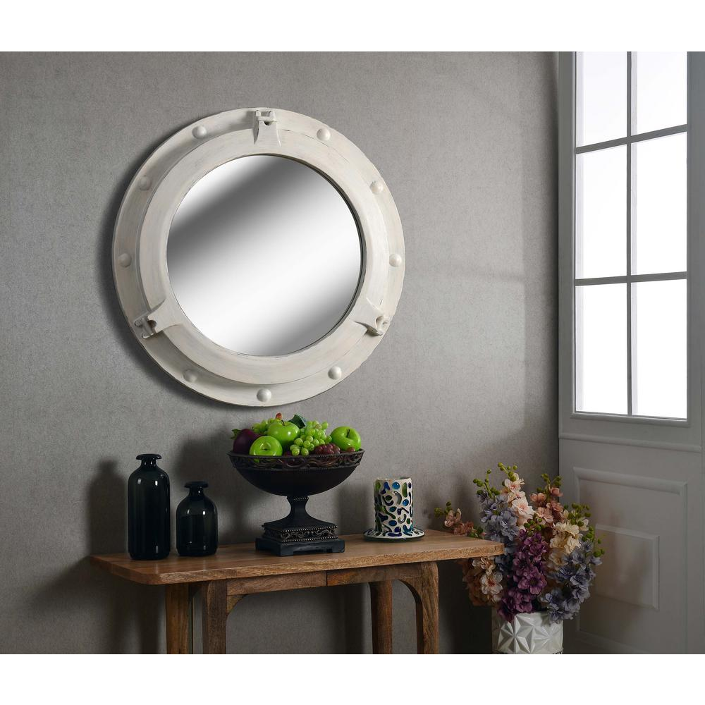 Round white mirrors for walls