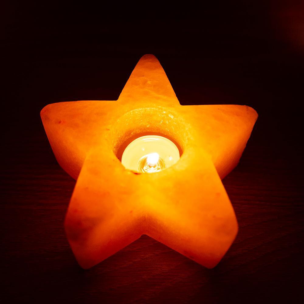 Himalayan Salt Tea Light Star Shape Candle Holder - Pack Of 2
