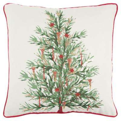 Christmas Tree 20 in. x 20 in. Decorative Filled Pillow