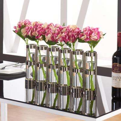 9 in. H. Glass Decorative Vase -Tube Hinged Vases on Rings Stands in Metallic Silver
