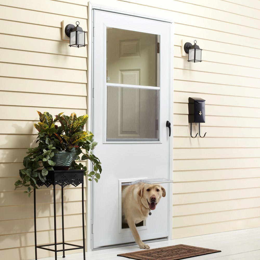 Emco 32 In X 80 In K900 Series White Vinyl Self Storing Pet Storm Door With Black Hardware K900 32wh The Home Depot
