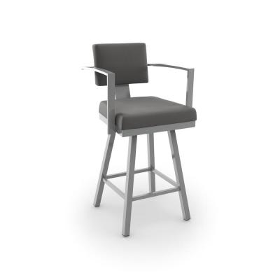 Akers 26 in. Glossy Grey Metal Light Cold Grey Polyester Counter Stool