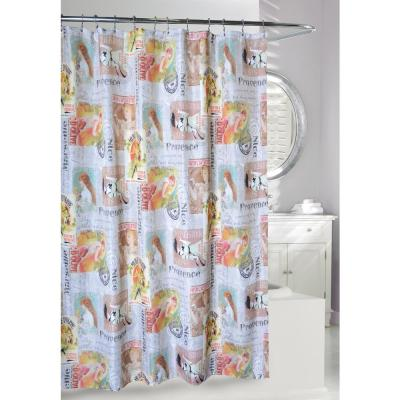 Les Femmes 71 in. Multi Color Fabric Shower Curtain