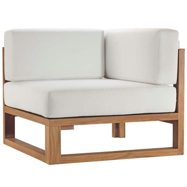Upland Natural Teak Corner Outdoor Lounge Chair with White Cushions