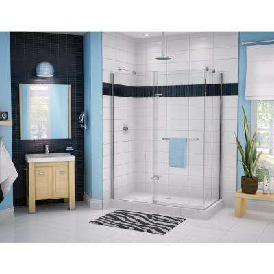 Reveal 60 in. x 71.5 in. Frameless Corner Pivot Shower Enclosure in Chrome with Handle