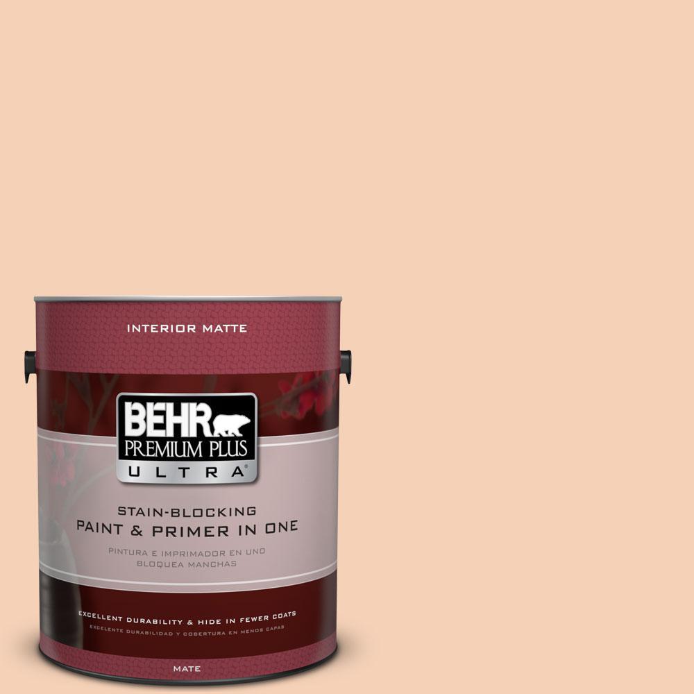 BEHR Premium Plus Ultra 1 gal. #280C-2 Serene Peach Flat/Matte Interior Paint