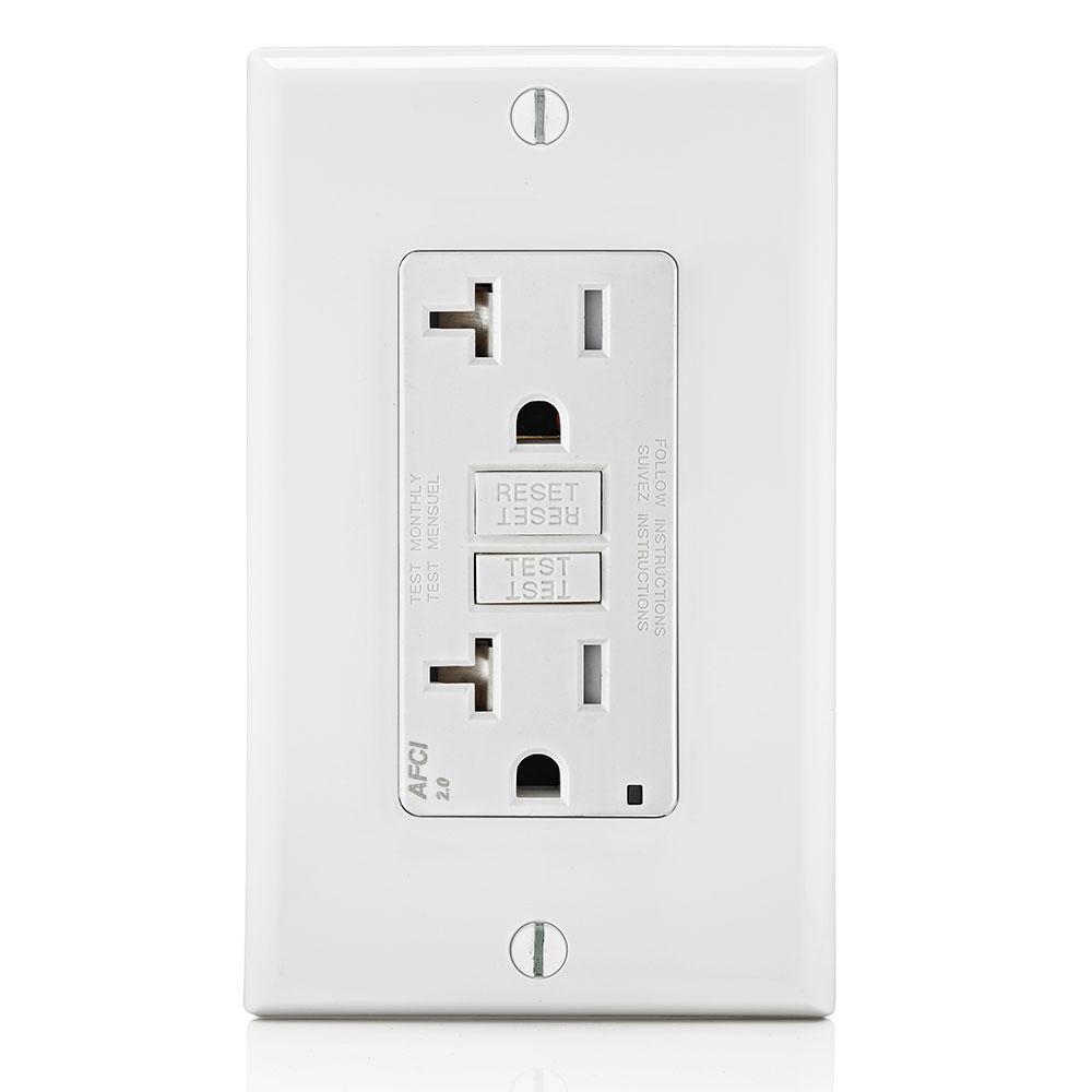 Leviton 20 Amp 125-Volt SmartLockPro 2-Pole Tamper-Resistant AFCI Duplex Outlet with LED, White