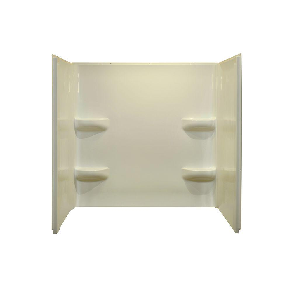 Lyons Industries Elite 27 in. x 54 in. x 59 in. 3-Piece Direct-to-Stud Tub Wall Kit in Biscuit