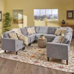 Noble House Delilah Mid-Century Modern 10-Piece Gray Tweed Fabric U-Shaped Sectional Sofa Set