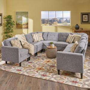 Noble House Delilah Mid-Century Modern 10-Piece Gray Tweed ...