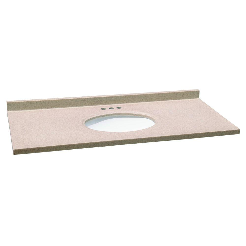 Design House 49 in. W x 22 in. D Solid Surface Vanity Top in Aurora with White Bowl