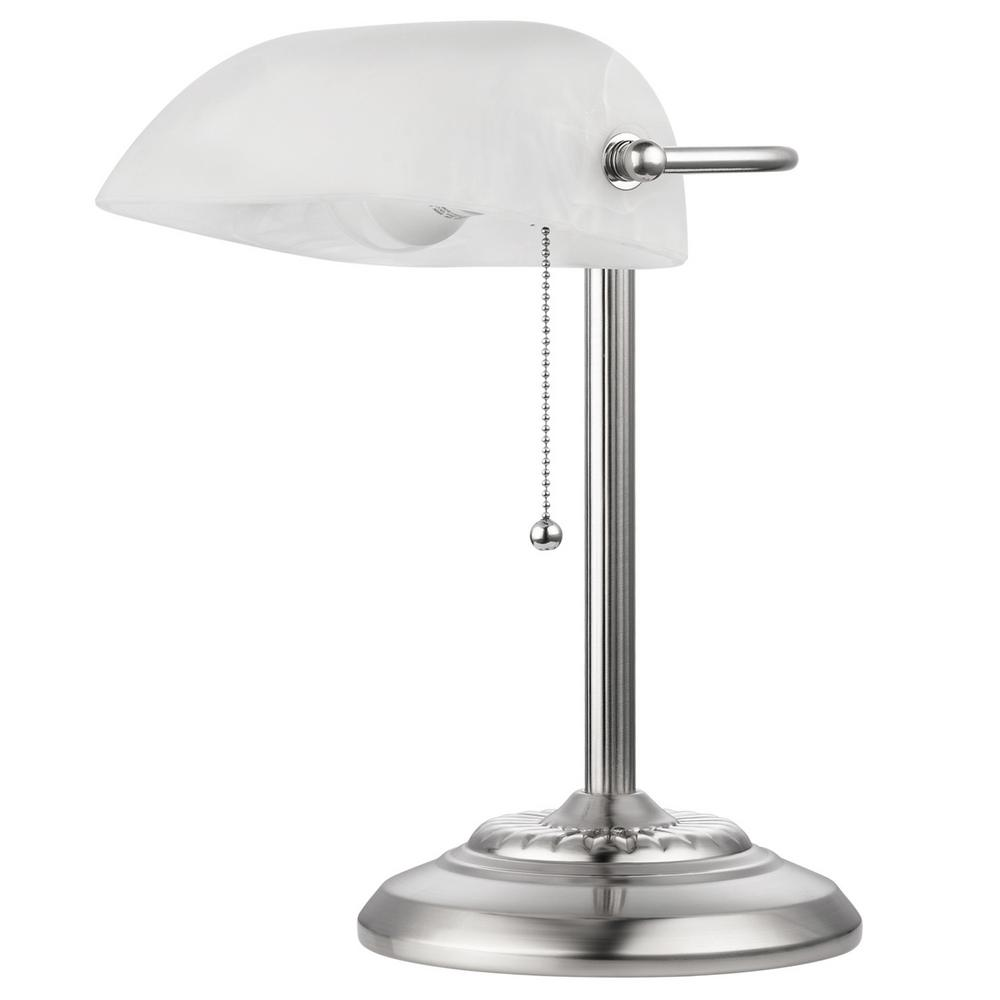 Globe Electric LED For Life 1 Light Brushed Steel And Frosted Glass Shade Banker  Lamp