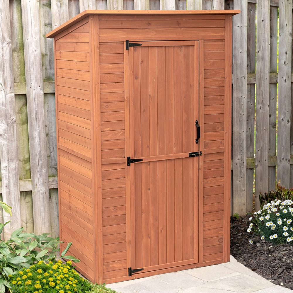 Leisure Season 48 in. W x 35 in. D x 75 in. H Medium Brown Cypress Deep Storage Shed with Drop Table