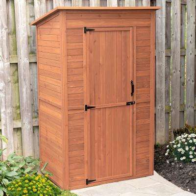 48 in. W x 35 in. D x 75 in. H Medium Brown Cypress Deep Storage Shed with Drop Table