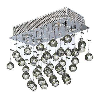 Icicle Collection 4 Light Chrome and Crystal Ceiling Light