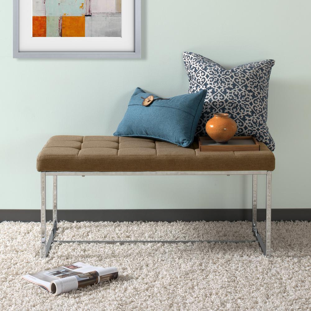 CorLiving Huntington Modern Brown Fabric Bench with Chrome Base LDF-231-O
