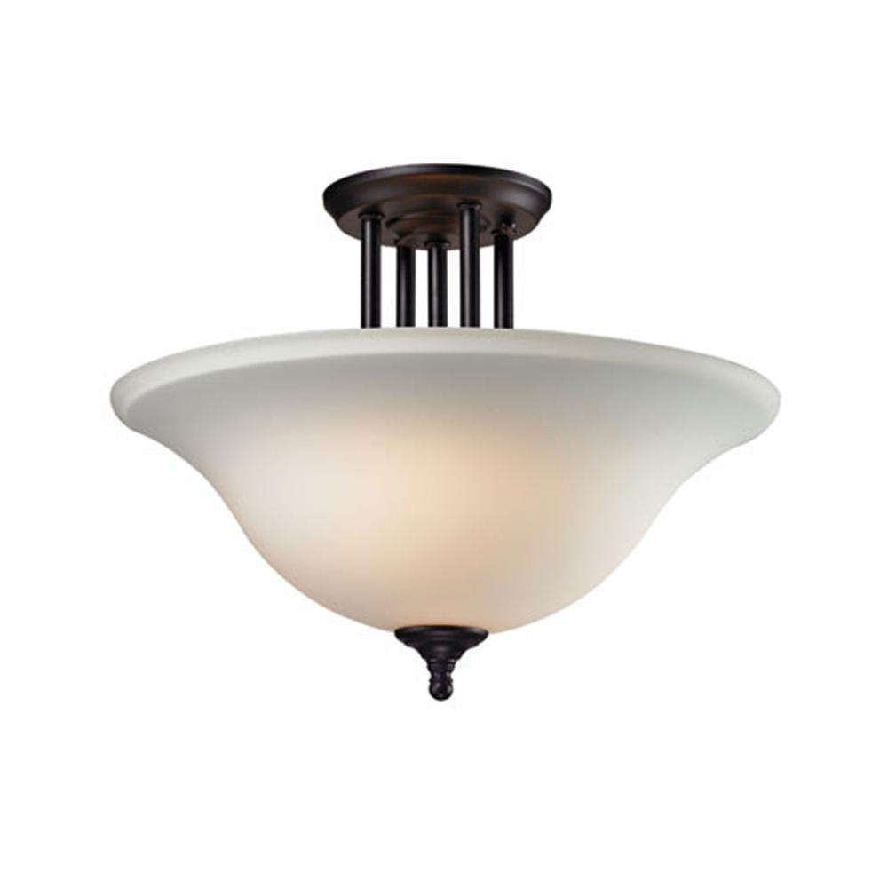 Tulen Lawrence 3-Light Matte Black Incandescent Ceiling Semi Flush Mount