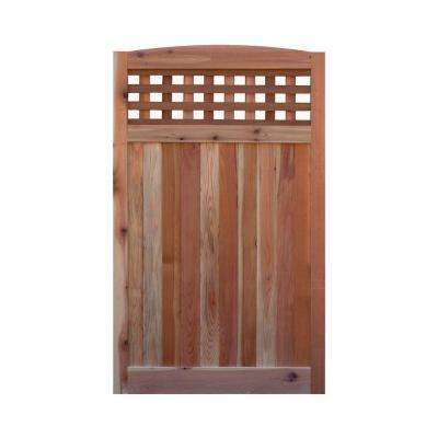 3.5 ft. H W x 6 ft. H H Western Red Cedar Arch Top Checker Lattice Fence Gate