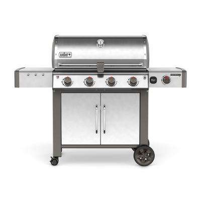 Genesis II LX S-440 4-Burner Natural Gas Grill in Stainless Steel with Built-In Thermometer and Grill Light
