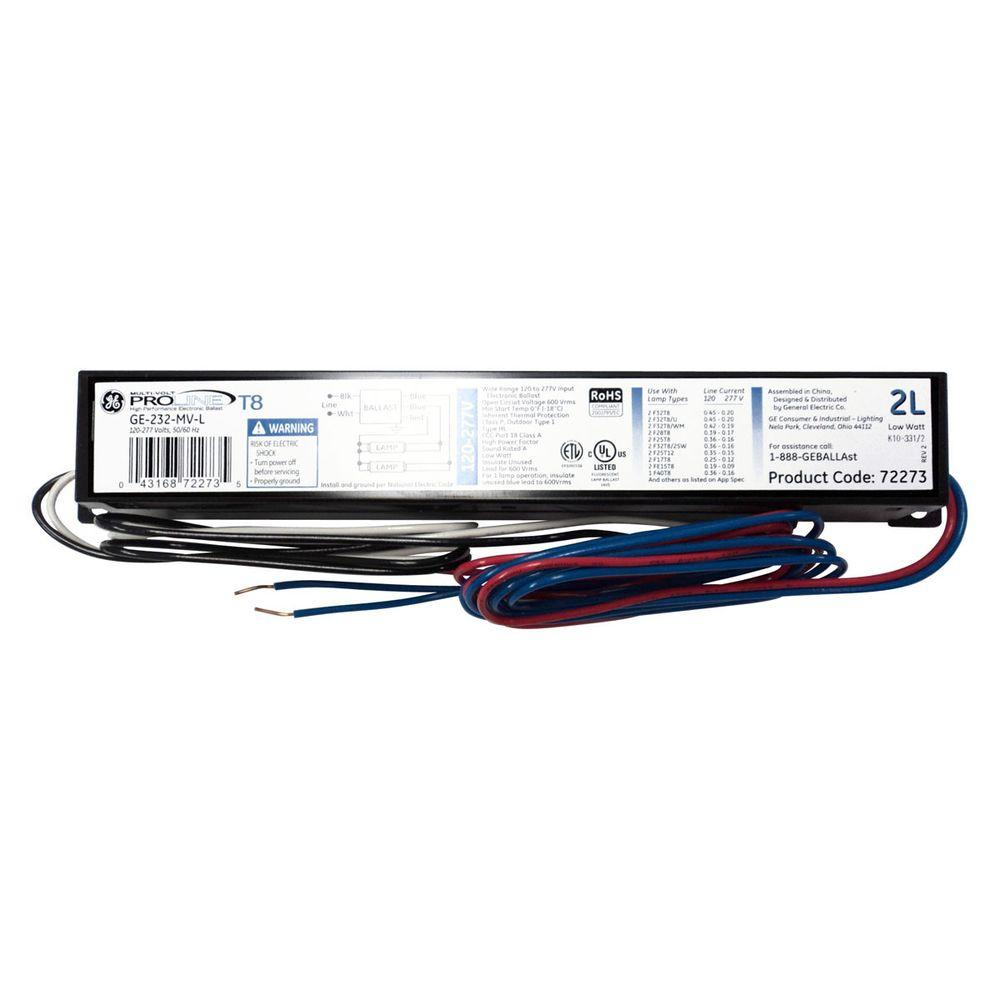 Ge 120 277v Electronic Low Power Factor Ballast For 4 Ft 2 Or 1 Wiring Diagram T8 Lamp