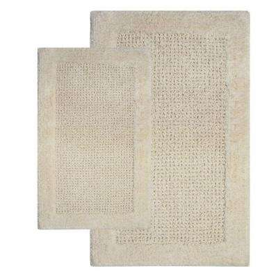 21 in. x 34 in. and 24 in. x 40 in. 2-Piece Naples Bath Rug Set in Ivory