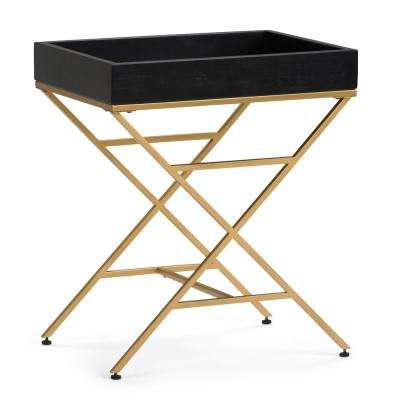 Moira Matte Black and Gold Metal/Wood Accent Table