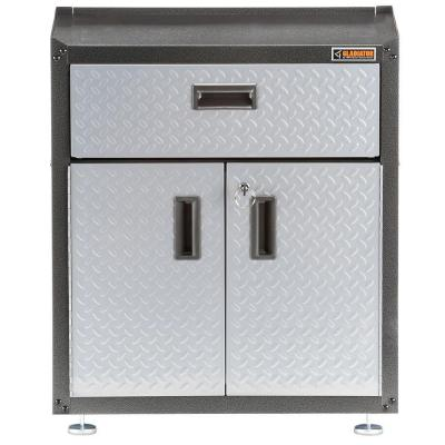 Ready-to-Assemble 31 in. H x 28 in. W x 18 in. D Steel 2-Door Freestanding Garage Cabinet with Drawer in Silver Tread