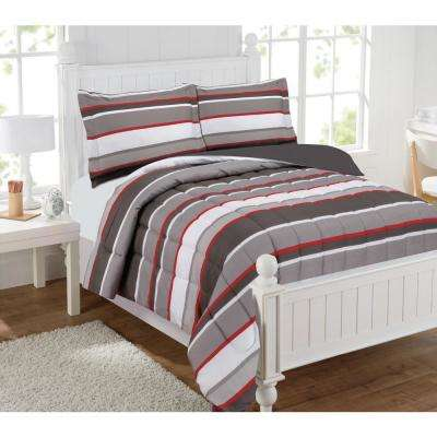 Brett Stripe 3 Piece Gray/Red Full Comforter Set