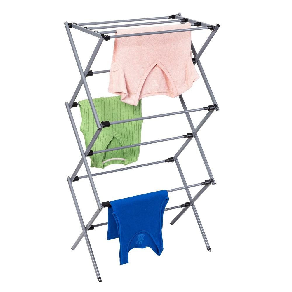 Honey-Can-Do 14.5 in. x 45.5 Grey Silver Expandable KD Drying Rack Mainstays DRYW01005 Deluxe Knockdown Metal Drying Rack, Silver. This sleek, silver-coated steel drying rack is sturdy and rust-resistant. Unlike a wall-mounted unit, this portable rack can be used anywhere including the laundry room, balcony, porch, bathroom, or kitchen making an attractive drying space out of any room in your home. The space-saving unit offers 28.5-linear feet of drying area when fully assembled and folds down to 3-inches flat for easy storage when not in use. Save on energy costs while protecting the environment and increasing the life of your garments.
