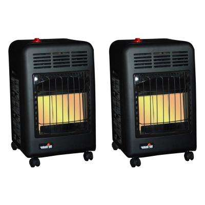 18000 BTU Radiant Propane Cabinet Outdoor Space Heater (2 Pack)