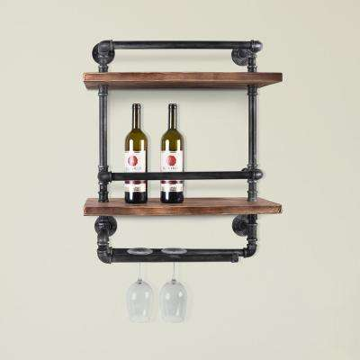 Kosovo Industrial Floating Silver Brushed Gray Pipe Wall Shelf with Walnut Wood