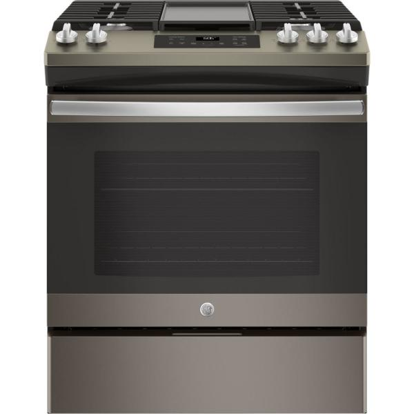 GE 5.3 cu. ft. Slide-In Gas Range with Steam-Cleaning Oven in Slate, Fingerprint Resistant