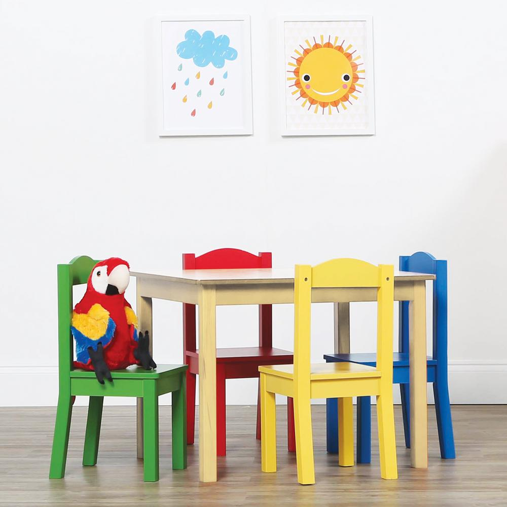 Tot Tutors Primary 5-Piece Kids Natural Table and Chair S...