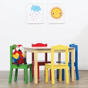 Tot Tutors Primary 5 Piece Kids Natural Table And Chair Set TC715   The  Home Depot