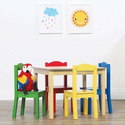 Primary 5 Piece Kids Natural Table And Chair Set