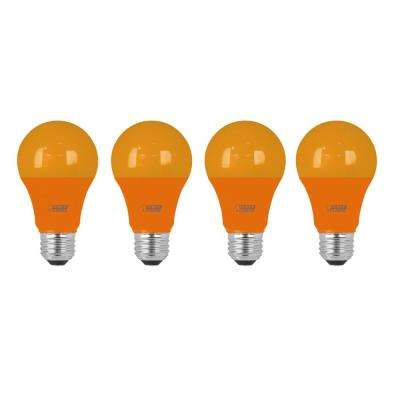 40-Watt Equivalent A19 Medium E26 Base Non-Dimmable Orange Colored LED Light Bulb (4-Pack)