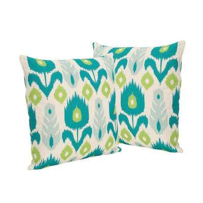 Floral Teal and Green Square Outdoor Throw Pillows (Set of 2)