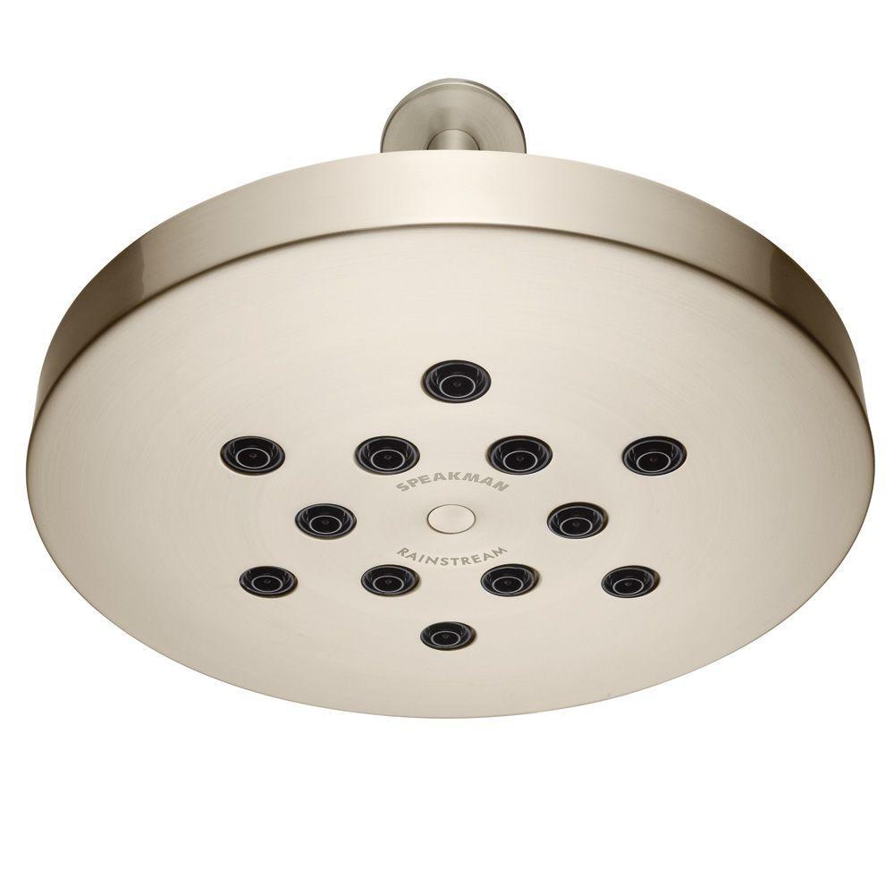 Speakman Rainstream 1-Spray 10 in. Raincan Round Showerhead in Brushed Nickel