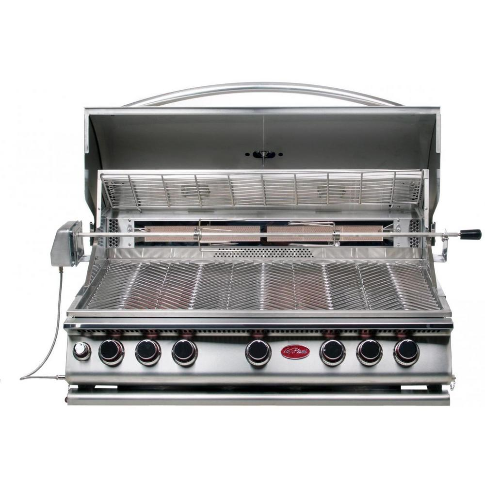 Cal flame 5 burner built in stainless steel propane gas convection grill with infrared - Home depot bbq propane ...